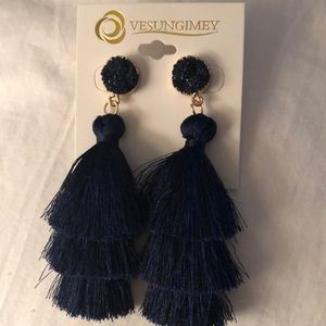Tassel Earrings, Navy Blue